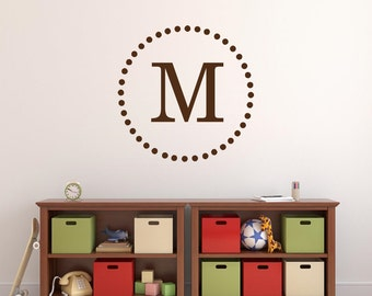 Single Initial Monogram Wall Decal - Personalized Vinyl Letter Circle Dots Border Vinyl Wall Decal Boy Bedroom Decal Girl BedroomDecal