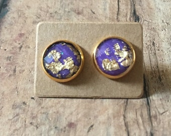 Gorgeous purple gold fleck studs