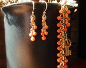 Delicate Golden Bracelet Earrings Set with Antique Salmon Corals - One-Of-A-Kind Repurposed Jewelry