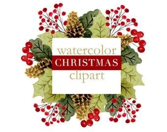 Christmas wreath clipart, christmas clipart, watercolor christmas clipart, christmas scrapbook clipart, christmas graphics