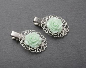 Mint flower hair clip, mint barette, mint rose hair clip, mint wedding hair accessories, mint hair clips, mint barrettes, rose accessories