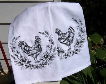 Blackwork Rooster and Chicken Set of 2 Tea Towels/Embroidered Kitchen Dish Towels, Embroidered Tea Towel/ Embroidered Kitchen Towel