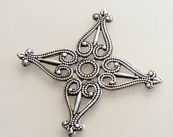 LuxeOrnaments Oxidized Sterling Silver Plated Filigree Stamping 34mm (1 pc) E51X-VJS