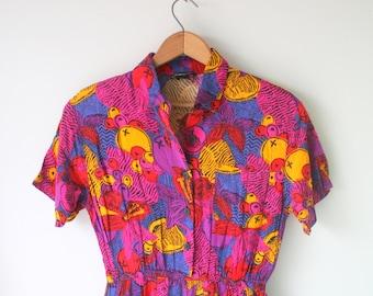 1980s Vintage Mod Hippie Boho Wide Bottom Jumper Romper...medium..hippie. 70s 80s clothing. retro pants. groovy. mod. fushia. urban. hipster