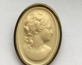 Vintage Roman Girl Celluloid Cameo Brass Brooch