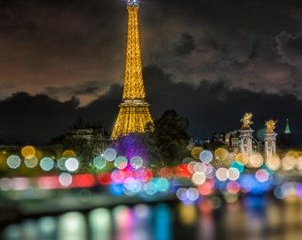 Eiffel Tower Paris Bokeh Lights- 8x10 Fine Art Print