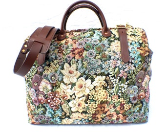 Mary Poppins Floral 'Carpet' Bag, Weekender / Overnight / Carry on Carpet bag