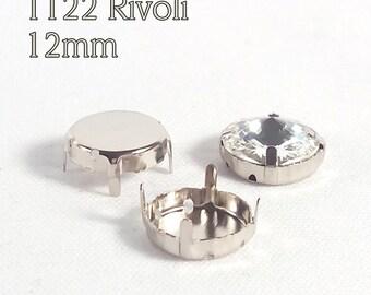 WHOLESALE!  10x Round Sew-on Settings for Swarovski 12mm Rivoli (1122) crystals, rhodium plated
