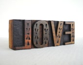 LOVE - 4 Vintage Letterpress Wood Type Blocks Collection - LP043