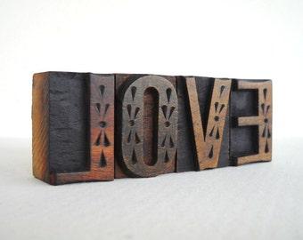 LOVE - 4 Vintage Letterpress Wood Type Blocks Collection - LP043