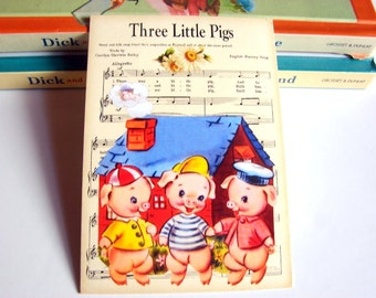 Small Ready to Frame Print - The Three Little Pigs Mother Goose Fairy Tale Nursery Rhyme Sheet Music Baby Toddler Kids Room Home Decor