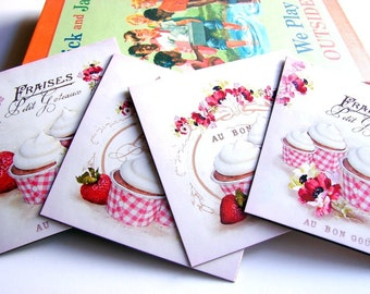 Bakery Note Card Set * French Patisserie Strawberry Cupcakes Baking Bake Food Frosted Strawberries Shabby - 4 Sm Square Greeting Cards