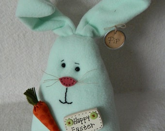 Easter Bunny Doll ~ Mint Green Polar Fleece Bunny with Carrot and Happy Easter Sign ~ Original Design