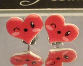 Winking Red Heart Stud Earrings - Kawaii