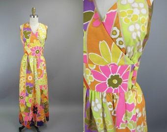 1960s Bold Floral Maxi Dress