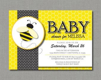 Bumble Bee / Honey Bee - Baby Shower Invitation