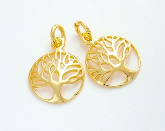 2 of 925 Sterling Silver 24k Gold Vermeil Style Tree of Life Charms 11.5 mm. :vm0580