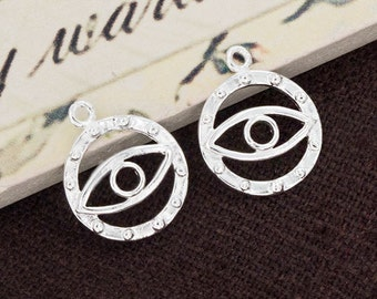 2 of 925 Sterling Silver Evil Eye Charms 12mm. :th2458