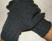 Men gloves- hand knitted from natural wool, warm, dark gray colour