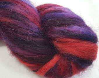 Hand Painted 100% Alpaca Roving - 4 ounces - Dyed in shades of Red and Purple