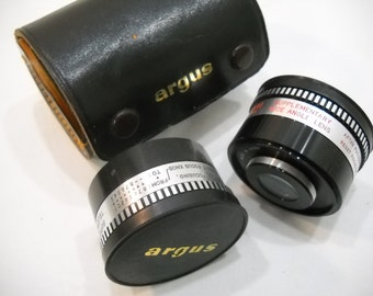 Vintage Set Of Argus Supplementary Telephoto & Wide Angle Lenses In Leather Case