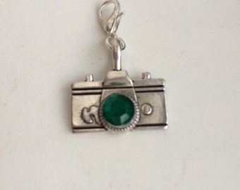 Camera with Green Rhinestone Zipper Pulls or clip on charm