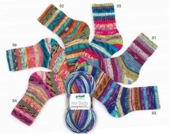 600 gr Evergreen German self striping superwash sock yarn Grundl, 6  colors