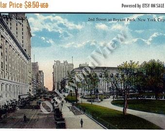ON SALE New York City Bryant Park 42nd Street Postcard c1910, Manhattan NYC, Cars Streetcars, Antique Color Ephemera c1910, Free Shipping