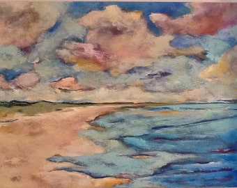"""Soft Place To Land  24""""x18x1.5"""" Original Seascape semi-abstract"""