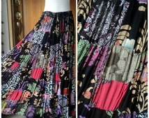 Patchwork Rayon Hippie Skirt Vintage Drawstring Rich Colorful Floral  Ethnic Boho Maxi Free Size Long Skirt