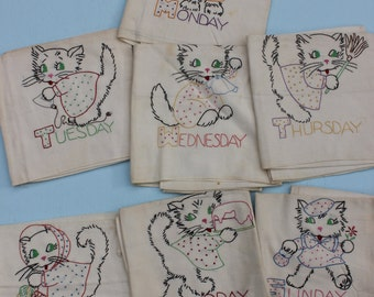 Vintage SET of Days of the Week Kitchen Towel Embroidery with Anthropomorphic Cat