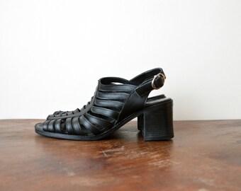 90s Black Heels Sandals Vintage 1990s Strappy Summer Shoes Women Size US 8 EU 39