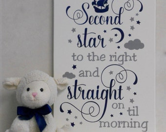 Second Star to the right and Straight on Til Morning - Peter Pan Quote Navy / Gray Nursery Playroom Decorating Ideas, Baby Nursery Wall Art