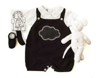 Knitted baby overalls with matching shoes. Black. Cloud. 100% cotton READY to SHIP size 3 Months.
