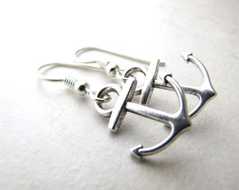 Anchor Earrings Ocean Nautical Beach Sailor Boat Sea Navy Mermaid Sailboat Sailing Yacht Silver