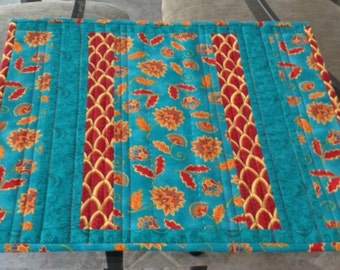 4 Placemats/ Teal Red Gold/ Patchwork/ Quilted/ Table Decor/ 2 Sets of 4 Available