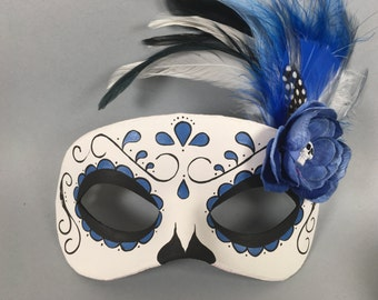 Blue Day of the Dead Swirl, Skull, and Flower Leather Masquerade Mask