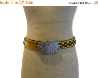 ON SALE Vintage boho southwestern yellow leather and brown suede weave belt, statement silver cowboy buckle.