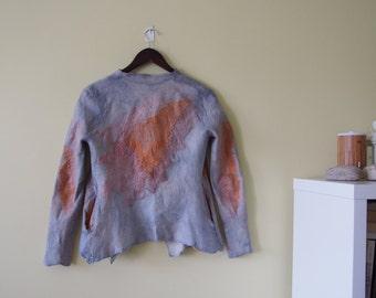 Sea love - Nuno felted jacket - softest wool and silk - OOAK