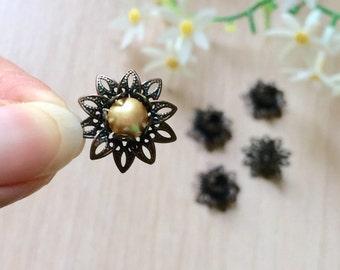 10pcs Antique Copper Flower Bead Caps