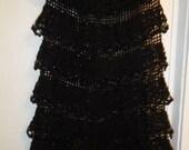 Crochet lace black cotton womens girls bohemian hippie ghotic eco maxi romantic wedding long skirt with ruffles