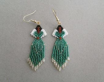 Groene kralen Angel oorbellen