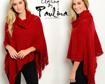 Red Ridding Hood Ruby Red Winter Poncho