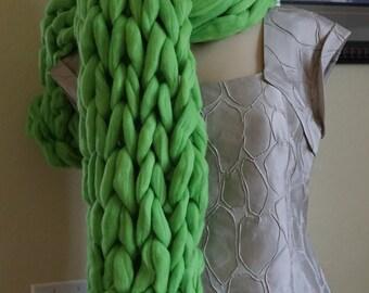 Oversized Scarf Wool scarf, Big Yarn Wrap, Green scarf, Chunky  Scarf, Gift Idea, Warm Winter Scarf