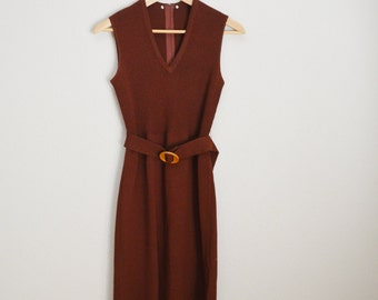 Vintage 70s Brown Sleeveless Sweater Dress // womens small - stretch - with belt