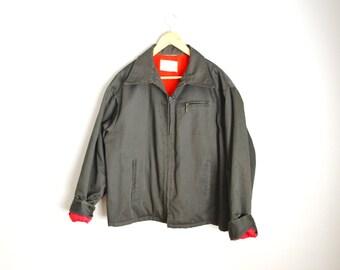 Vintage 60s 70s BIG Mac Dark Gray Shop Worker Jacket With Plush Hunter Orange Interior // mens xlarge