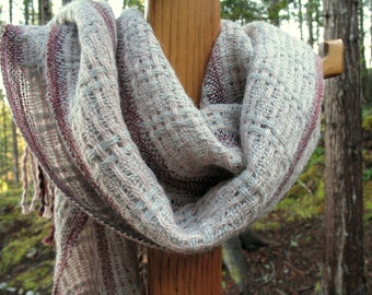 Dusty Rose, Grey and Burgundy Handwoven Lacy Scarf