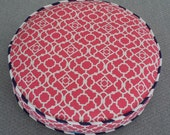 Round Cat Bed in Coral Geometric Print with Navy and White Piping