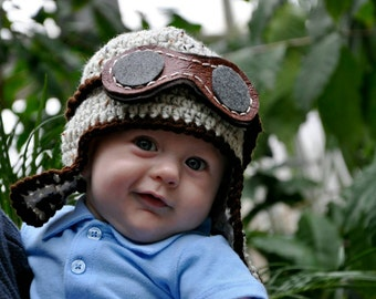 Photography Prop // Crochet //  NB up to 6 - 12 months // Crocheted Baby Aviator Hat Baby Hat // greyish marble (featured)