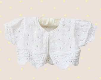 Discount! - Hand knitted baby bolero, white baby bolero,cotton baby bolero, Christening bolero, Ready to Ship
